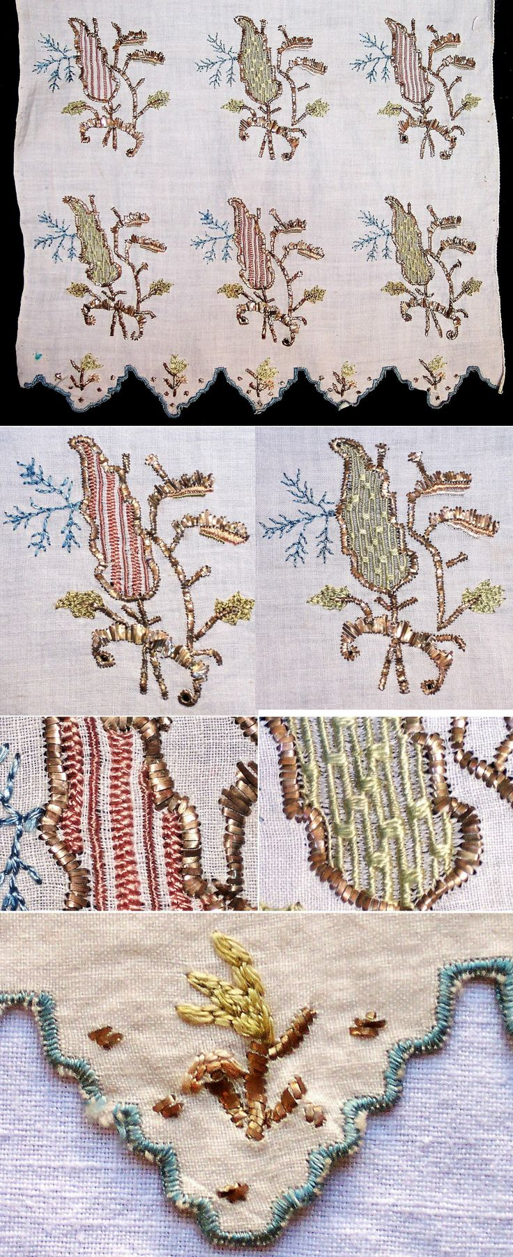 One of both embroidered ends of a woman's 'uckur' (waistband/sash).  From western Anatolia (probably Bursa), late 19th c.  The embroidery is 'two-sided' (identical on both sides of the fabric) and is executed in both multi-coloured silk and 'tel kırma' (motives obtained by sticking narrow metallic strips through the fabric and folding them.).  (Inv.nr. brdw037 - Kavak Costume Collection - Antwerpen/Belgium).