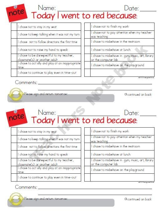 Red Card Notes for Behavior Management: saw this in a classroom...worked well for her class