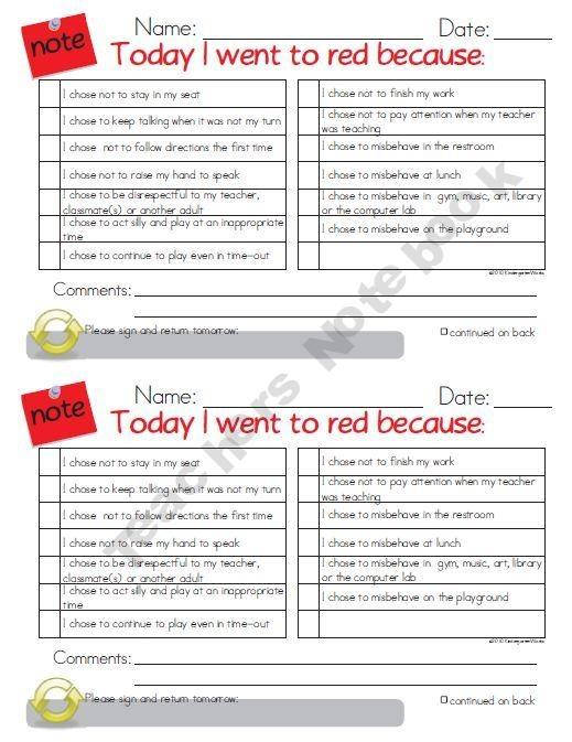 Red Card Notes for Behavior Management