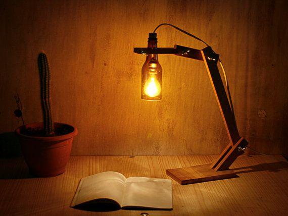 Handmade recycled bottle desk light wood lamp desk lamp table lamp custom - Fabriquer table picnic ...