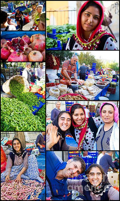 A collage of the Fresh Market and Vendors in Kusadasi, Turkey