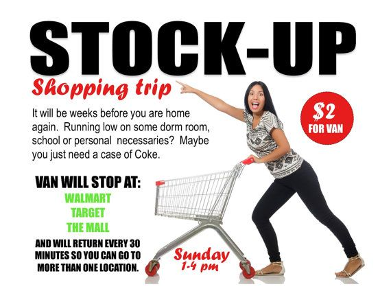 Stock Up Shopping Trip Program flyer helping with RA program ideas. Cut time by using these pre-made flyers available for download as a MS Word or Publisher document. Good for resident assistants and all residence life staff.