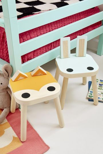 These stools have felt pads on the bottom, so Oliver and Sommer can drag them around to the toy area, their closets, or the bedside. I had their old blocks lying around as I was making the light fixture, and all of a sudden, they looked like ears! Now I want to make a whole forest of critter stools.    Do It Yourself