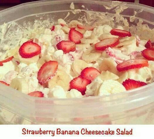 STRAWBERRY BANANA CHEESECAKE SALAD  Stir together:  1 bag of miniature marshmallows 16 oz of vanilla yogurt 1 regular size tub of cool whip 1 package of no bake cheese cake filling  Stir in 1-2 containers of sliced up strawberries 3-4 sliced up bananas  Other fruits can be substituted or added as desired  Best served chilled and same day due to banana discoloration
