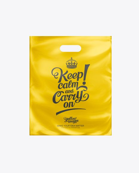 White Patch Handle Plastic Carrier Bag Mockup. Preview