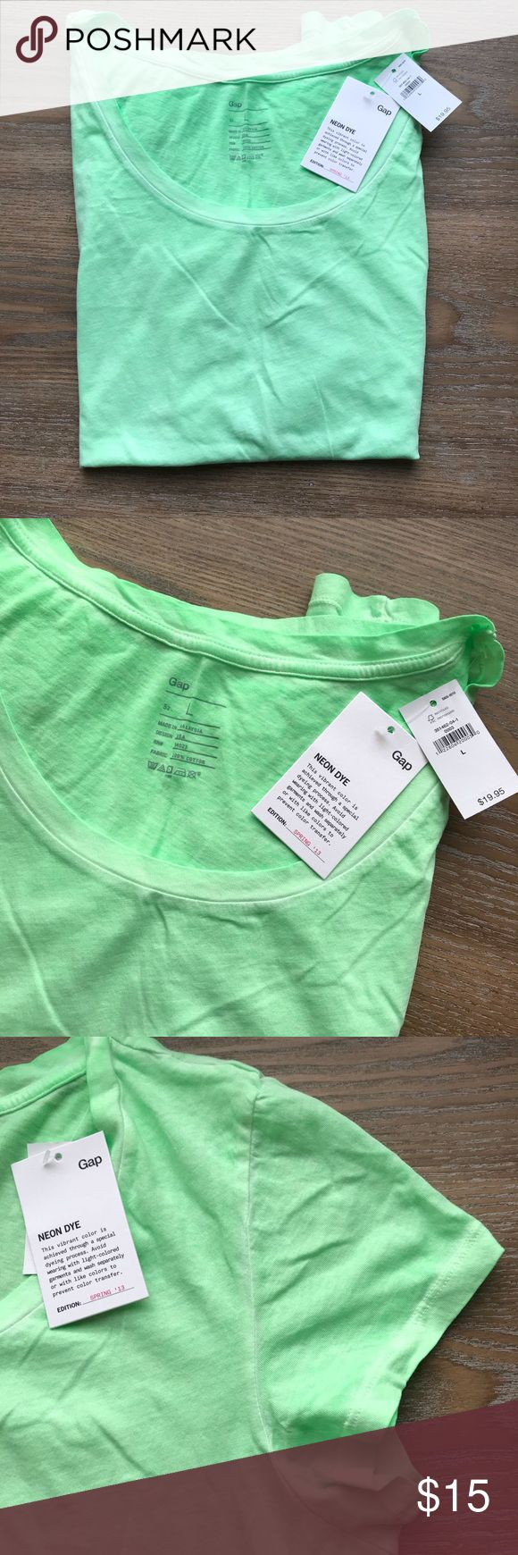 NWT Gap Neon Green Scoop Neck Tee Vibrant green scoop neck t-shirt. Neon color achieved by unique dyeing process. Short sleeves. Soft, comfortable 100% cotton. GAP Tops Tees - Short Sleeve