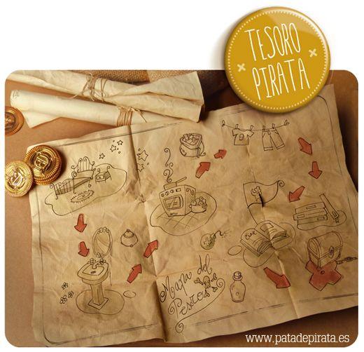 ¡Hoy toca tesoro pirata!, pero tesoro pirata de verdad. Os vamos a enseñar cómo hacemos nosotros los MAPAS DEL TESORO para jugar en casa y pasar una tarde muy divertida, para una sorpresa de cumpleaños o para la mañana de Reyes...