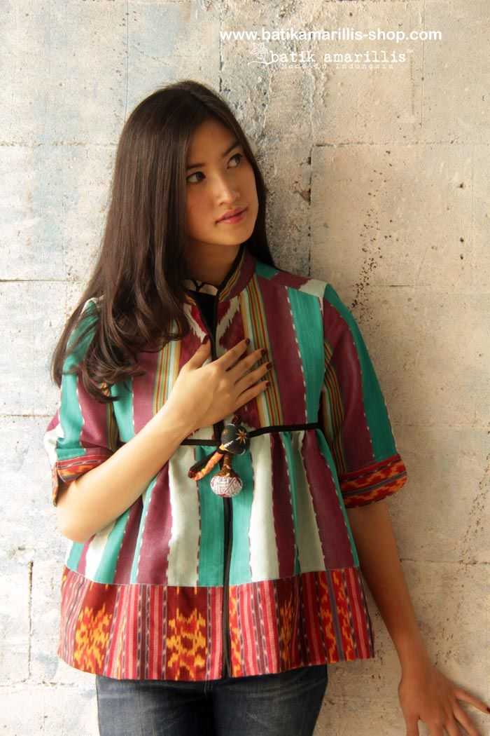 Batik Amarillis's Romancia jacket in various Ikats of Indonesia  Made in Indonesia www.batikamarillis-shop.com