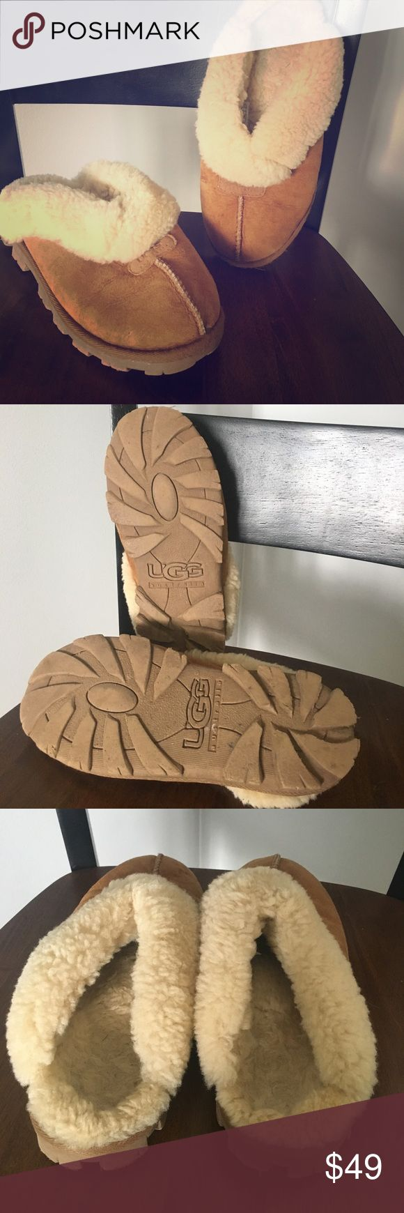 Women's UGG slide on slippers Women's UGG slide in slippers size 7, chestnut color. Gently used but good condition! UGG Shoes Mules & Clogs