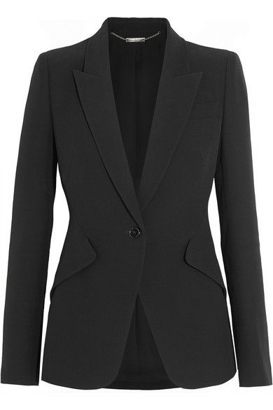 Black crepe Button fastening at front 50% acetate, 50% rayon: lining: 75% acetate, 25% silk Dry clean
