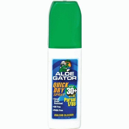 Aloe Gator Lil' SPF 30+ Quick Dry Pump Spray (3.5-Ounce) by Aloe Gator. $9.49. Added UVA/UVB protection with Parsol 1780. Water-resistant. Quick drying pump sprays. Quick drying pump spray offers added UVA/UVB protection with Parsol 1789 and are very water-resistant.  Oil free and PABA free.  Convenient hands free application.