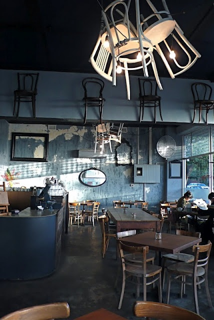 Food Endeavours of the Blue Apocalypse: West End Deli, West Perth. Urban Interior Design with hanging Chairs Great idea for Pop up restaurant