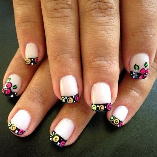 Floral French manicure.