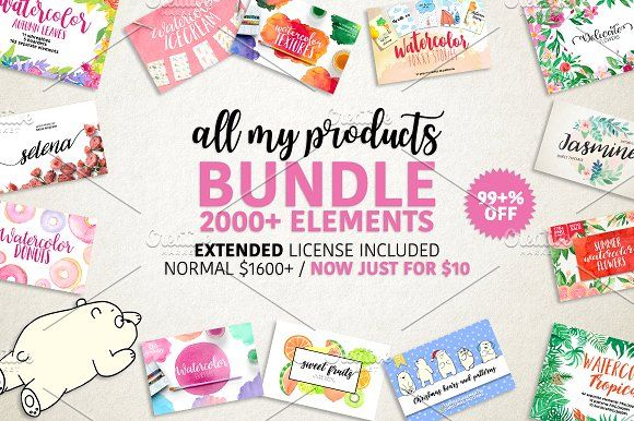 BUNDLE 2000+ elements by Daria Bilberry on @creativemarket