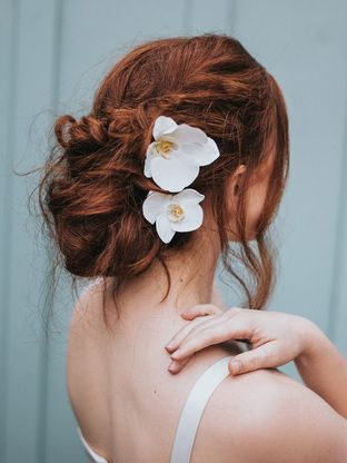 """""""Eva"""" Set of Two Orchid Bridal Hair Flowers"""