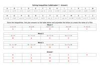 Codebreaker - Solving Inequalities - Resources - TES