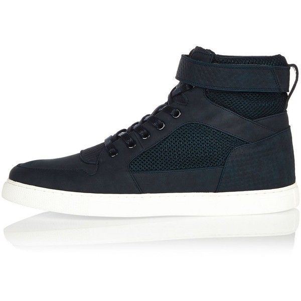 River Island Navy mesh hi tops ($48) ❤ liked on Polyvore featuring men's fashion, men's shoes, men's sneakers, navy, shoes, mens mesh shoes, mens velcro shoes, mens navy blue sneakers, mens mesh sneakers and mens high top velcro shoes