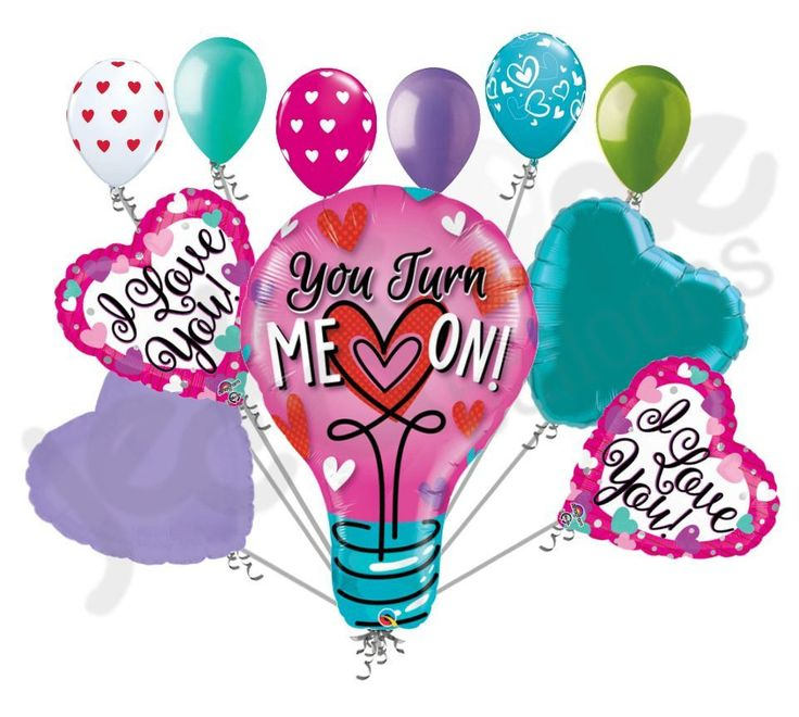 You Turn Me On Light Blub Love You Happy Valentines Day Balloon Bouquet
