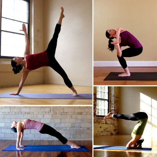 10 Yoga Poses 1. Quarter Dog  2. Side Fierce  3. Crow  4. Extended Standing Straddle  5. Locust  6. Intense East  7. Knee Up Plank  8. Balancing Star  9. Wheel  10. Bound Headstand B