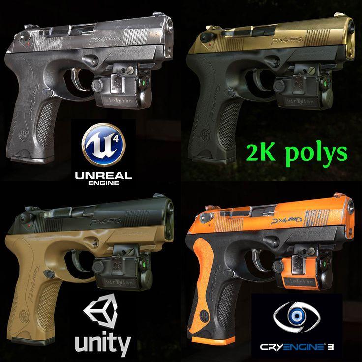 12 Low Poly Game Ready Berettas for  UE4, Unity5, Cry Engine, Derek (WarMart) Annan on ArtStation at https://www.artstation.com/artwork/4R8Yn