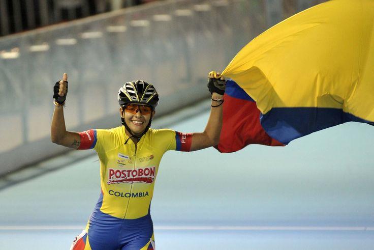 Paola Segura, campeona mundial de patinaje en 500 metros sprint mayores, el 12 de septiembre en China.