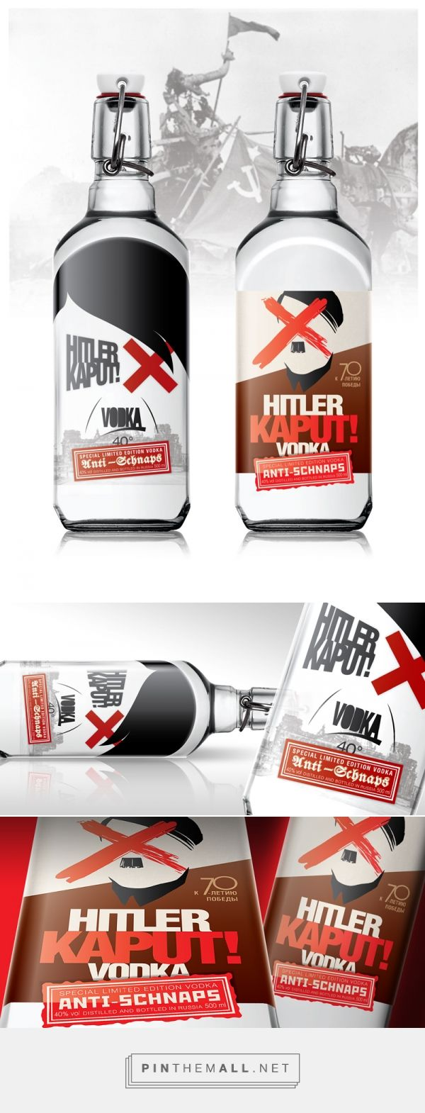 Who wants a glass of Hitler Kaput! Vodka? - Design Concept by Pavel Pimenov (Russia) - http://www.packagingoftheworld.com/2016/05/hitler-kaput-vodka-concept.html