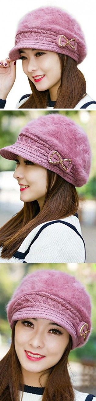 Ilishop Women's Cable Knit Visor Hat with Flower Accent Darkpink Free