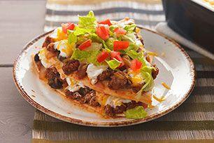 Les enchiladas sont étagées au lieu d'êtres roulées : c'est plus facile et elles ont toujours le  même bon goût.