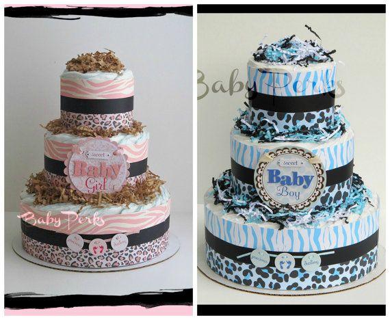 Safari Diaper Cake , Safari Girl Baby Shower , Zebra Diaper Cake, Blue Safari Diaper cake on Etsy, $49.99