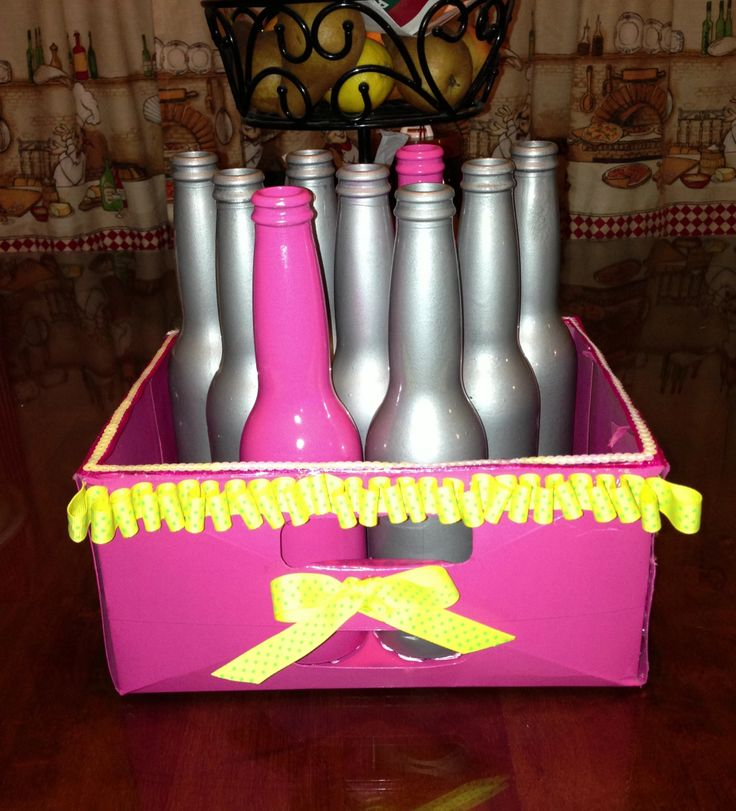 DIY Ring Toss Old Beer Bottles And Carton Spray Painted