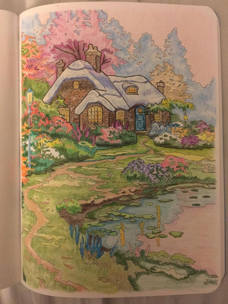 Posh Adult Coloring Book Thomas Kinkade Designs For Inspiration Relaxation Books