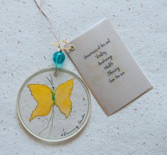 Butterflyyellow watercolour sun dancer home by DancingSoulshop