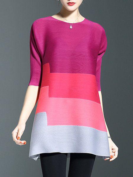 Shop Tunics - Blue Color-block Ombre/Tie-Dye Casual Tunic ...