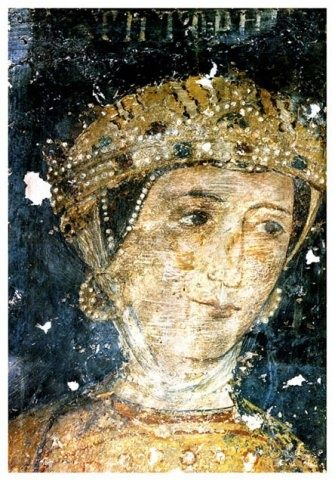 Dessislava (the Wife of Sebastocrator Kaloyan) - detail - 1259 - Boyana Church - close up