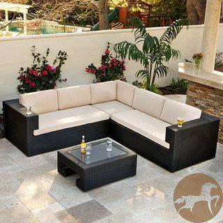 Elegant Christopher Knight Home Ventura PE Wicker 4 Piece Outdoor Sectional