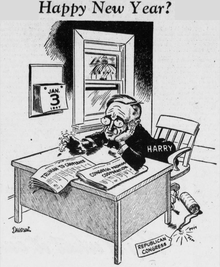 Happy New Year Harry Truman - January 2, 1947, Original Old Newspaper Article Illustration from 1947.