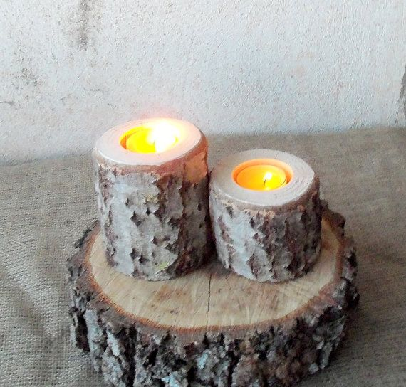2 Wood Candle Holders  Table Centerpiece   Wood Log Holders