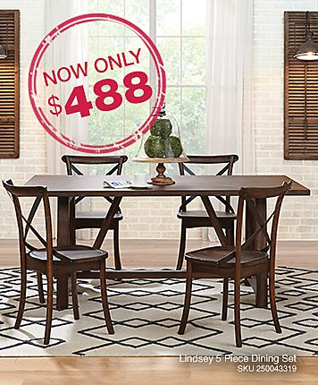 Lindsey 5 Piece Dining Set: Burnished Oak Finish Dinette Has A Trestle Base  With Part 80