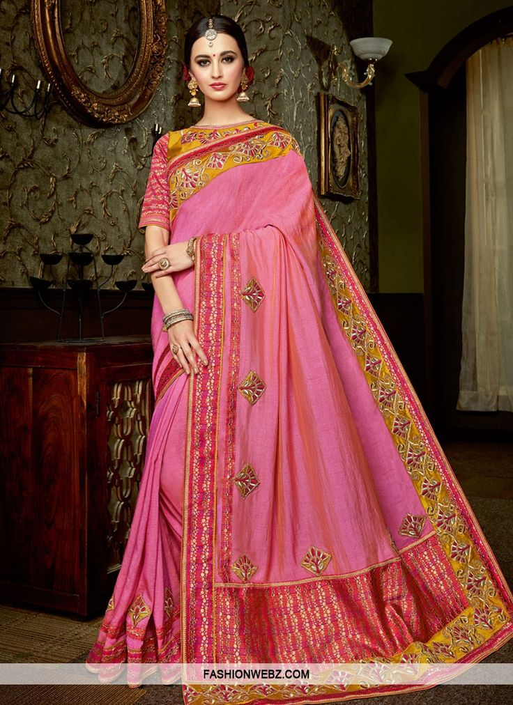 Shop this #hotpink #silk #contemporary style #wedding #saree online for #festival