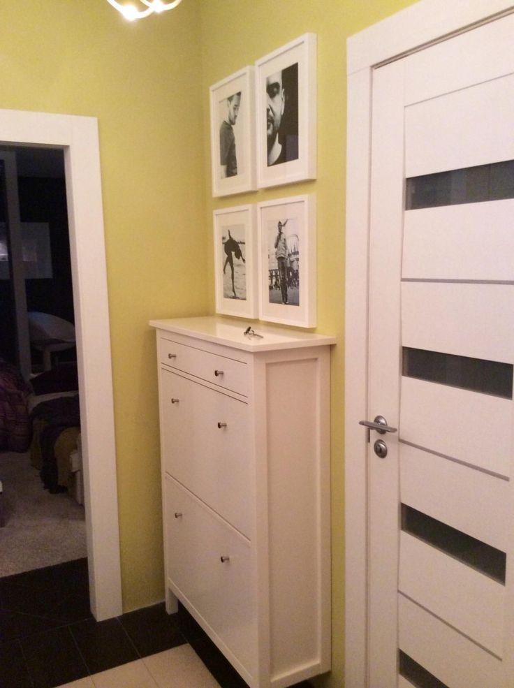 White HEMNES Shoe cabinet in the olive hall