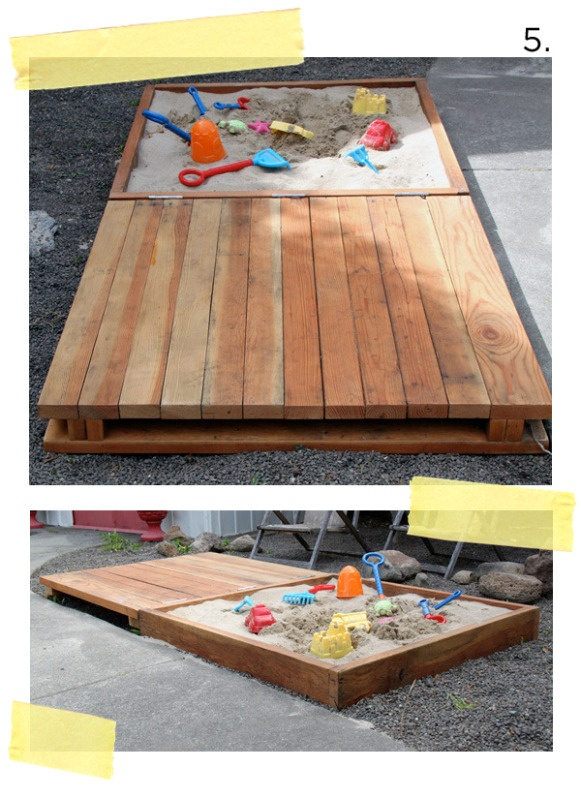 diy pallet sandbox projects the ingenious design of this wooden box can be opened up to provide sitting space that slide out to be benches at both sides - Sandbox Design Ideas