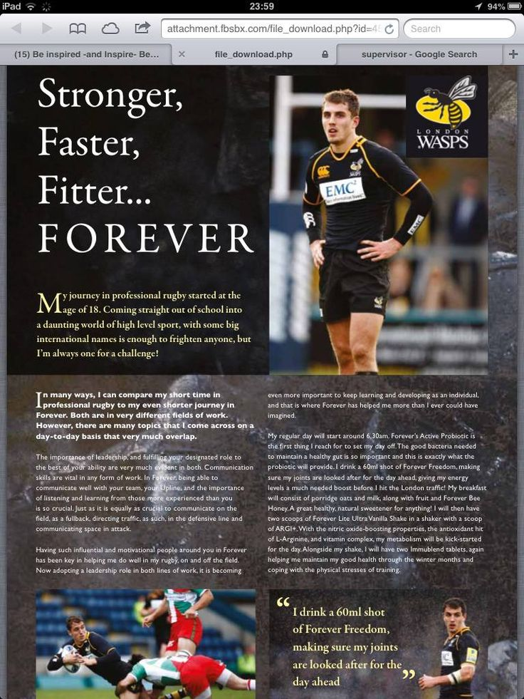"Testimony from Jack Wallace, PRO rugby player for London Wasps!   ""I take Arctic-Sea capsules which provides me with the essential omega oils that I need to stay lean. After sessions I have my Forever Lite Ultra Vanilla Shake and another serving of ARGI+. Thirty minutes pre-workout. I have two Bee Pollen tablets to help maintain energy levels, along with a Freedom2Go sachet which will top me up on my much needed Aloe Vera Gel"". The reason I choose Forever products over the hundreds of other…"