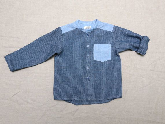 Linen boys dress shirt Boys long sleeve shirt Toddler boy shirt Blue striped shirt Mandarin collar shirt // Size US 3 (EU98) - Ready to ship on Etsy, $34.29