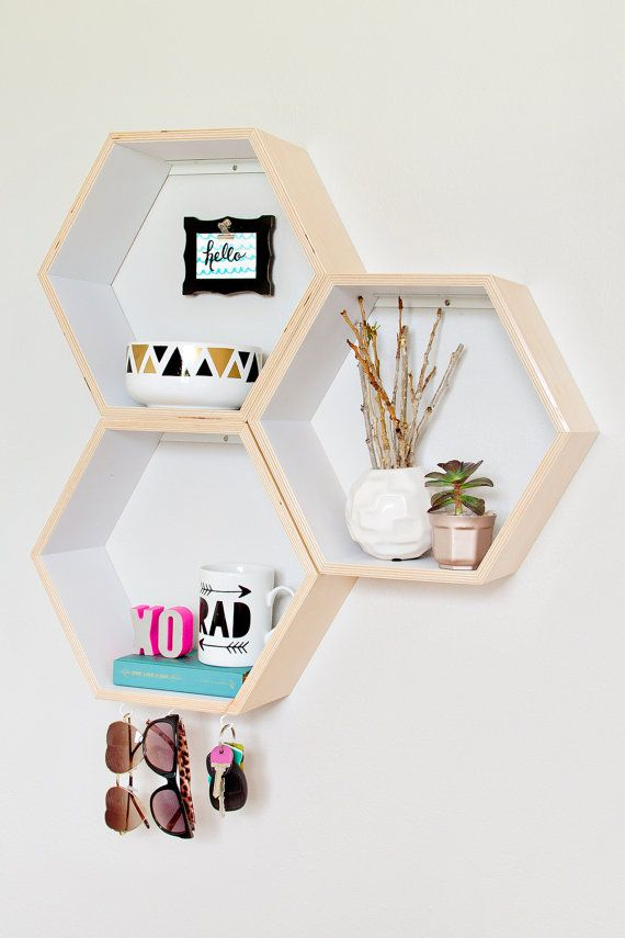 Set of 3 Honeycomb Shelves // Hexagon Shelves // Personalized // Custom to your room // Wood Shelves // Wall Shelves