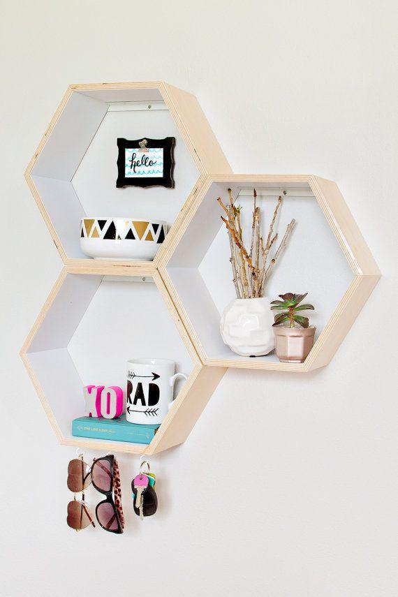 Set of 3 Honeycomb Shelves  // Hexagon Shelves // Personalized // Custom to your room // Wood Shelves // Wall Shelves