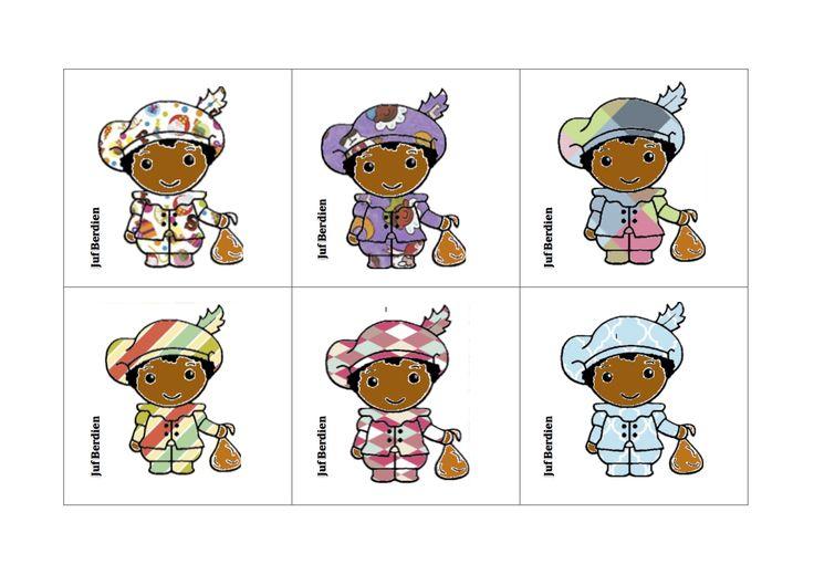 Juf Berdien Lotto spel pietjes patroon 1 Pakje Sinterklaas Zwarte Piet kleuters klas