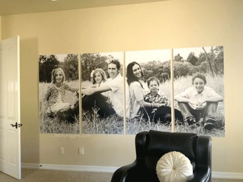 Here's another display I LOVE from Becky Higgin's blog!  One photo was cropped into four posters for a creative, high-impact display.