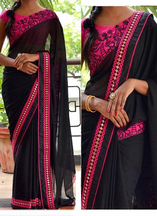 New #Black Georgette #Party_Wear #Designer_Saree