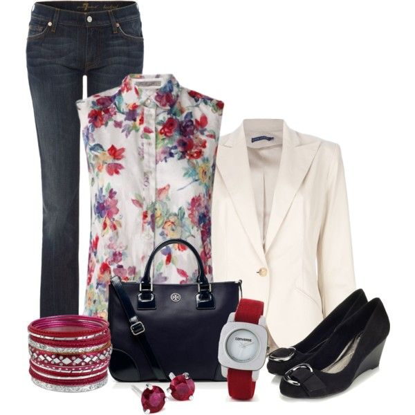 """Dark wash blue jeans"" by dgia on Polyvore"