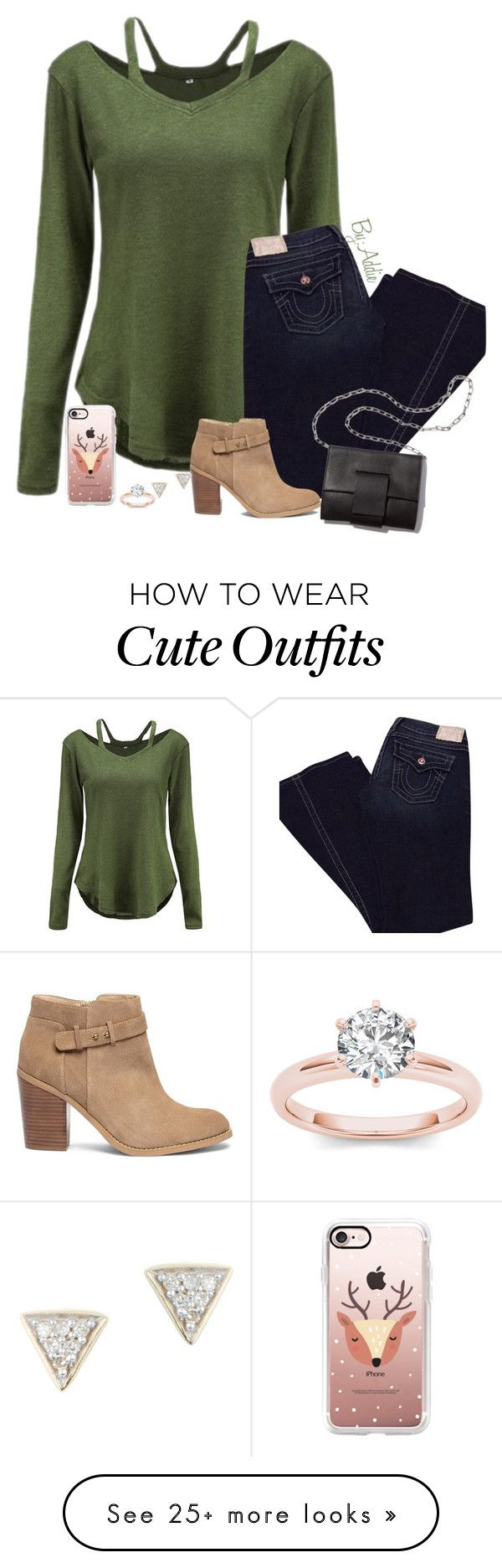 """Outfit by Addie"" by oliviamagic on Polyvore featuring True Religion, Sole Society, MM6 Maison Margiela, Casetify and Adina Reyter"